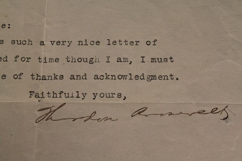 Lot 274: Theodore Roosevelt Letter w/ signature