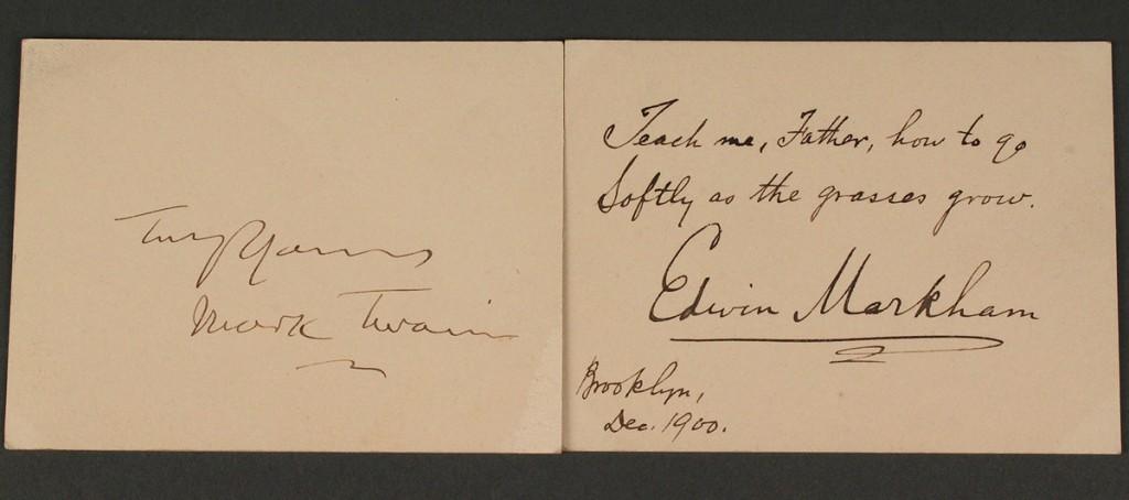 Lot 279: Mark Twain & Edwin Markham calling cards