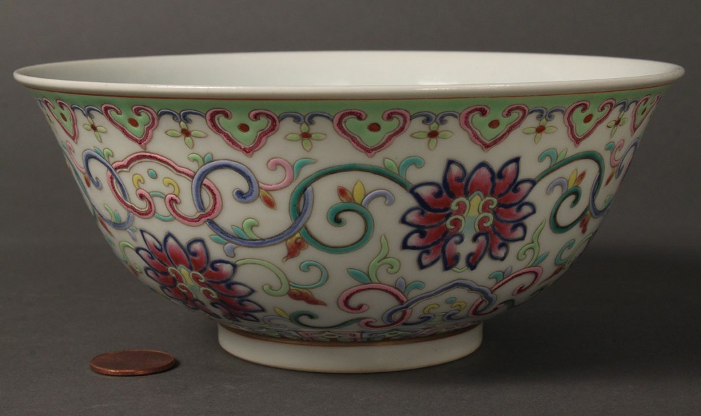Lot 27: Pair of Famille Rose Bowls, Guangxu Mark