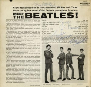 """Lot 281: """"Meet the Beatles"""" album, signed by all 4 members"""