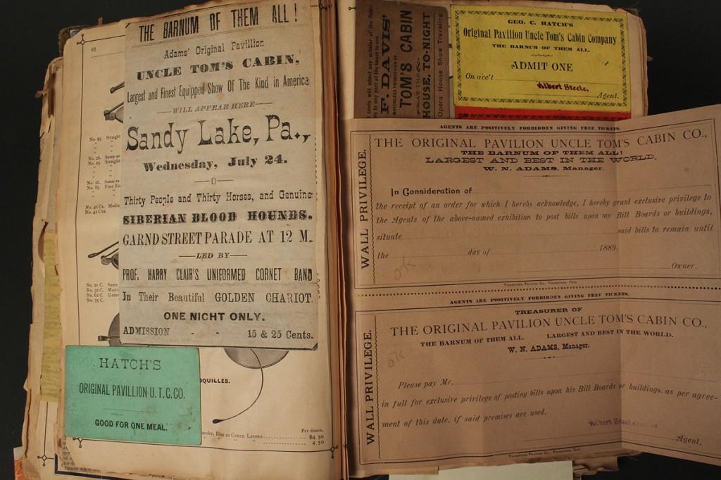 Lot 284:  1882 Uncle Tom's Cabin ephemera incl. broadsides, ticket receipts