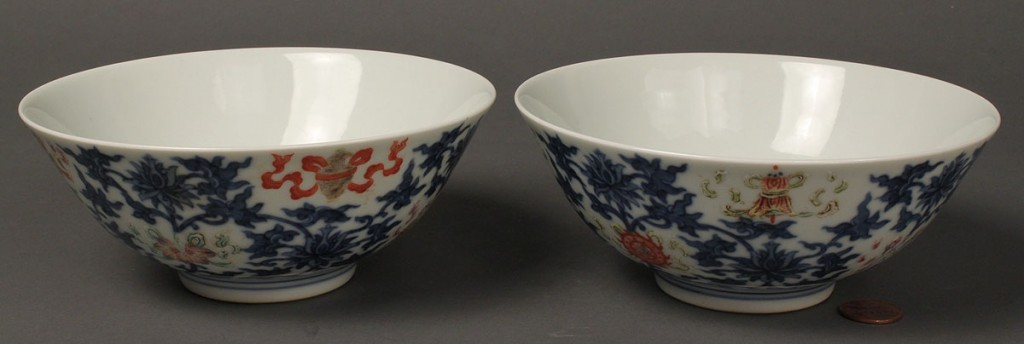 Lot 28: Pair of Bowls with Iron Red & Blue Lotus Flower