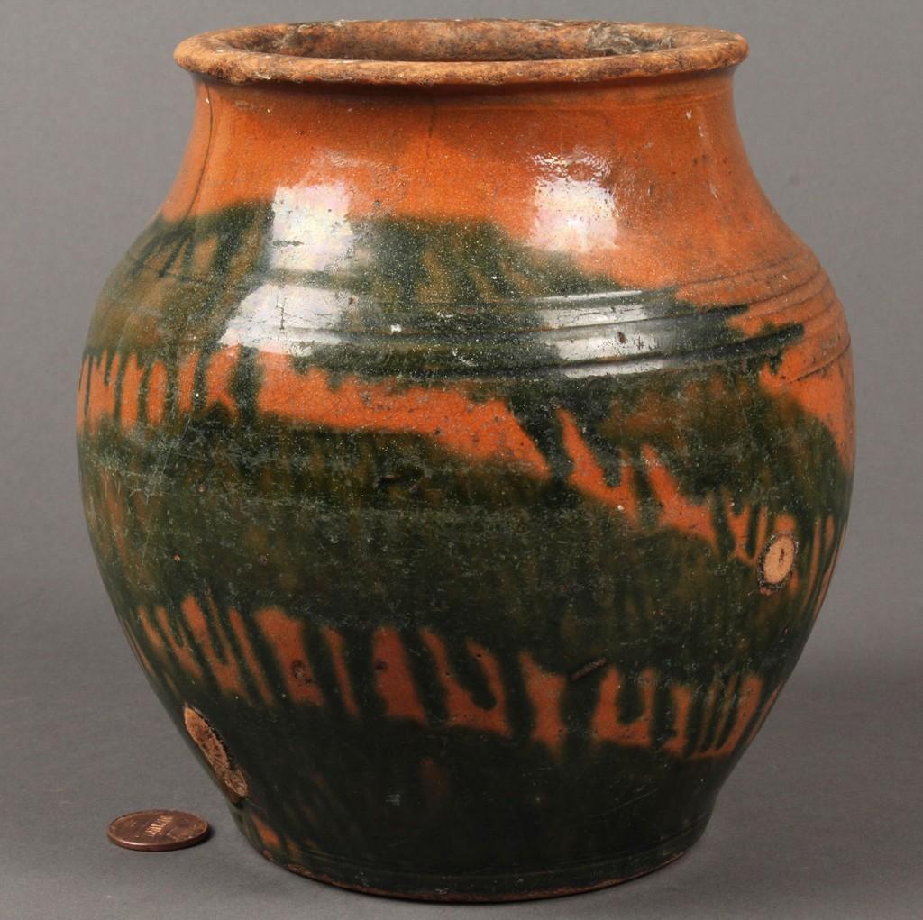 Lot 291: Greene County, TN redware jar attrib. C.A. Haun