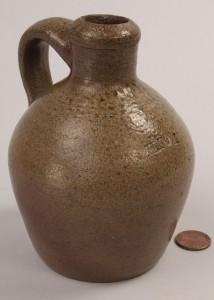 Lot 295: Miniature NC Stoneware Pottery Jug, Himer Fox