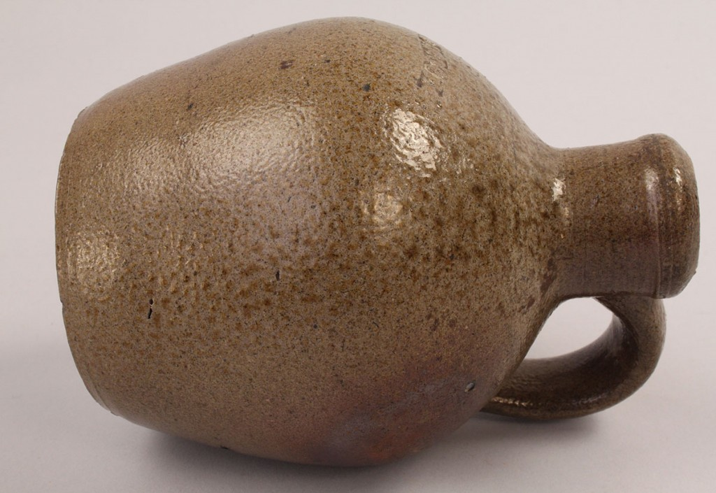Lot 295: Miniature NC Stoneware Pottery Jug, Himer Fox