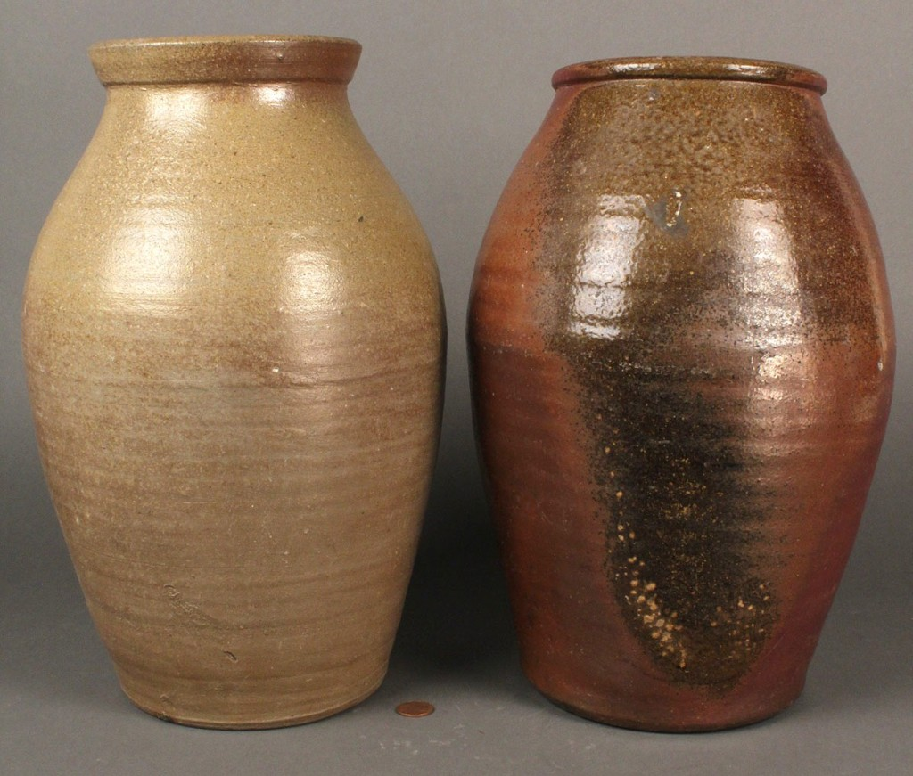 Lot 304: Lot of 2 Stoneware Jars, Middle TN or Loudon Co.