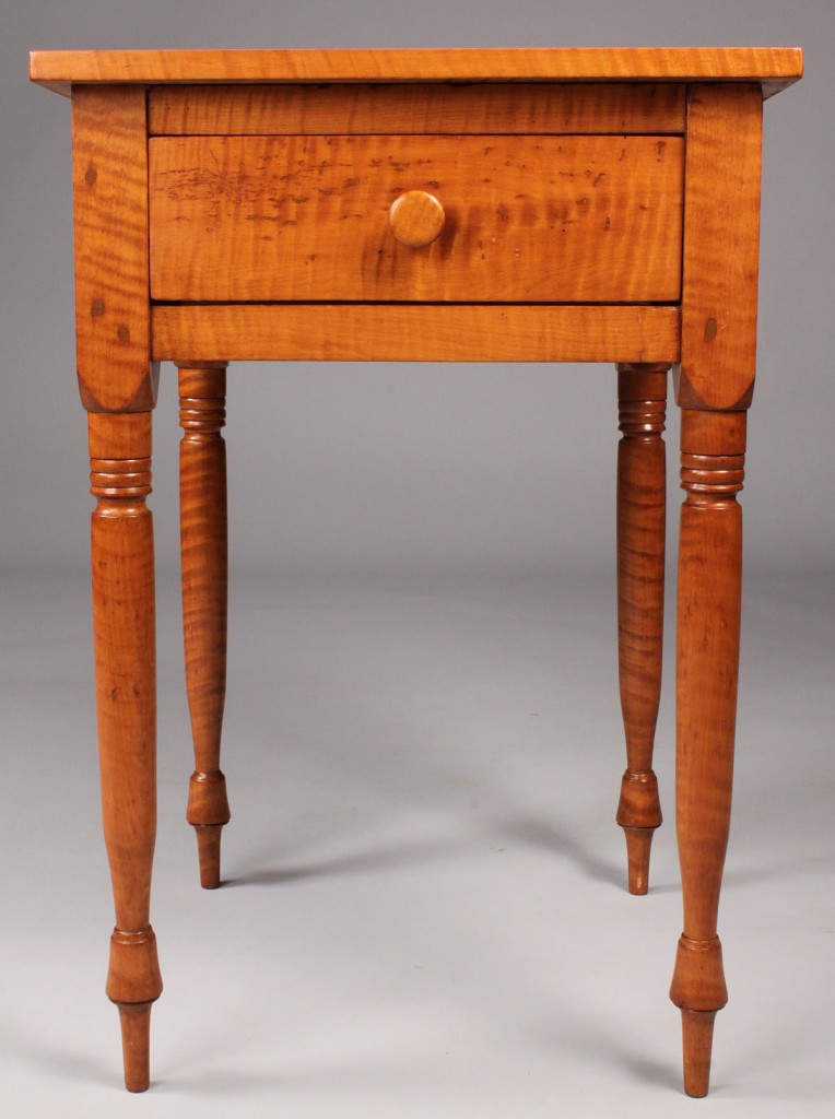 Lot 321:  Tiger Maple one drawer stand