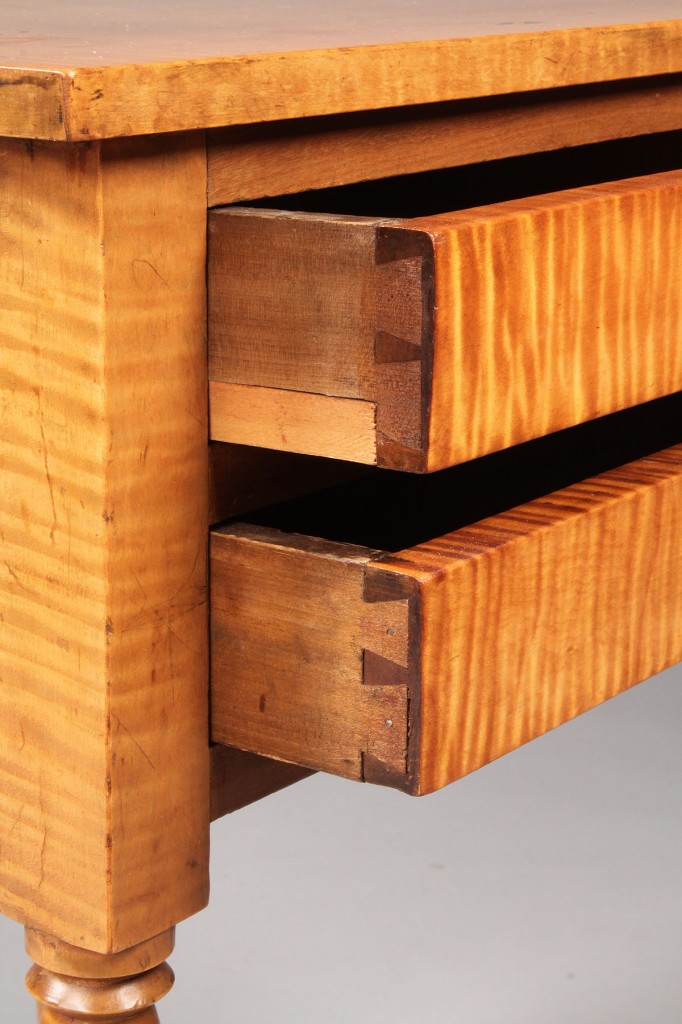 Lot 322: Tiger Maple 2 drawer stand