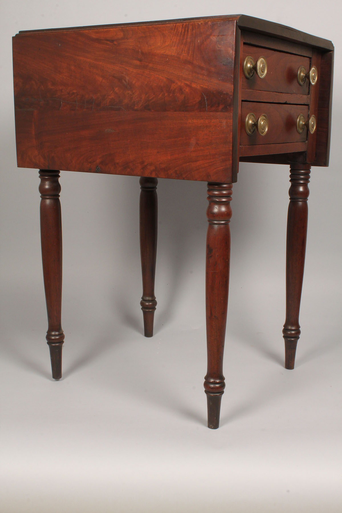 Lot 323 Federal Mahogany Two Drawer Work Table