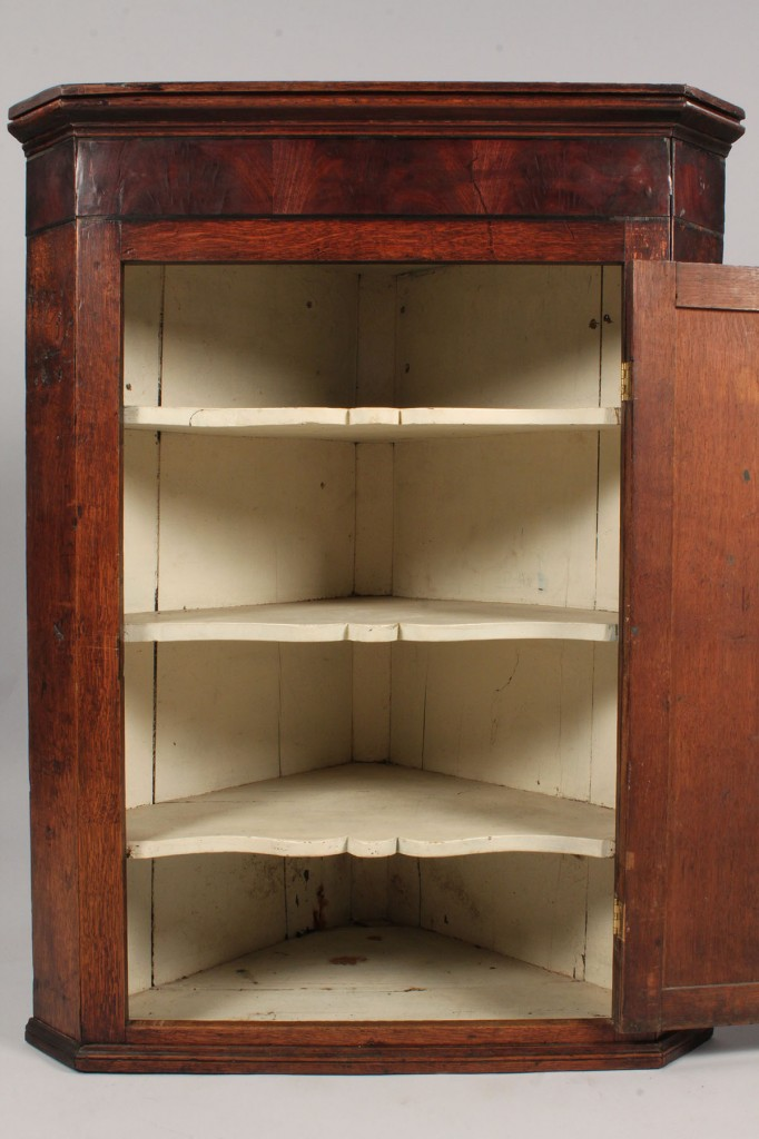 Lot 325: English Hanging Corner Cupboard