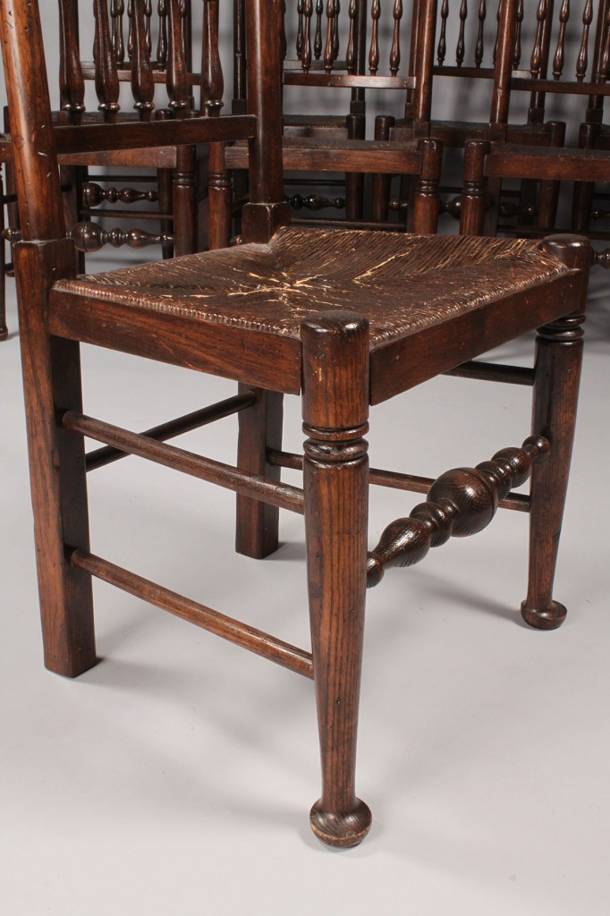 Lot 327: Set of 8 Lancashire County style Chairs
