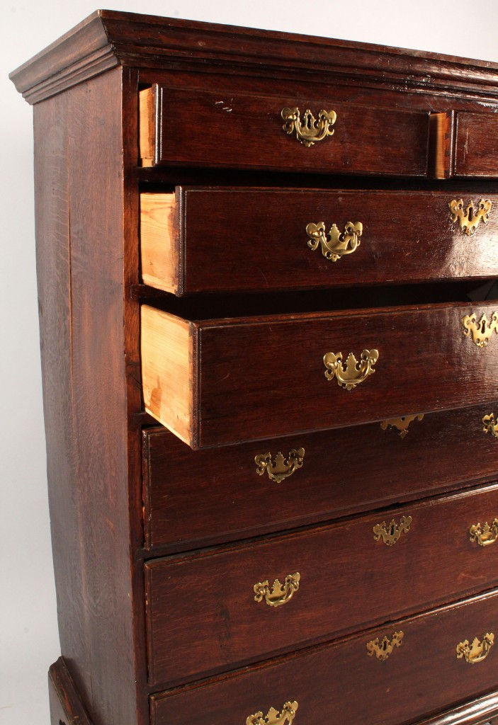 Lot 328: George III Oak High Chest of Drawers