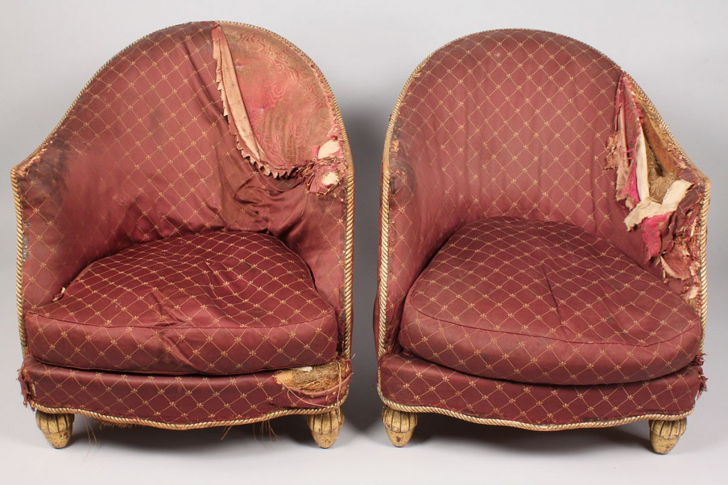 Lot 329: Pair 19th c. French Giltwood Bergeres