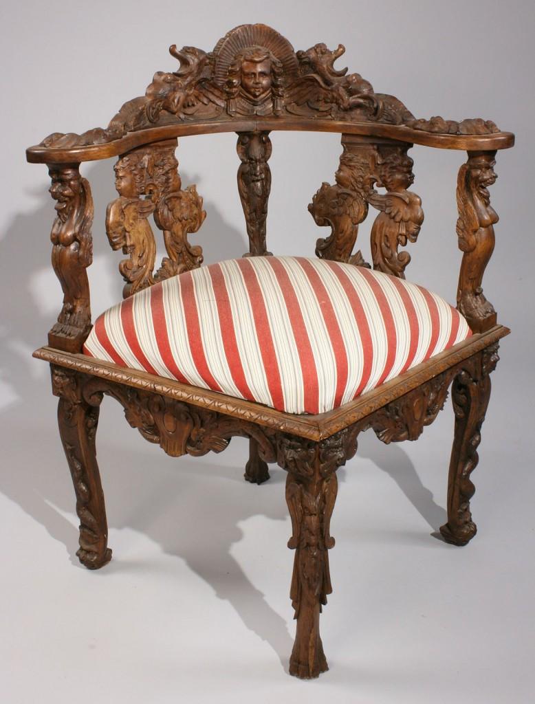 Lot 333: Carved Italian Corner Chair