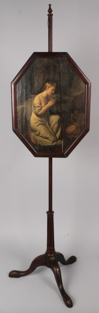 Lot 334: George III Painted Pole Screen
