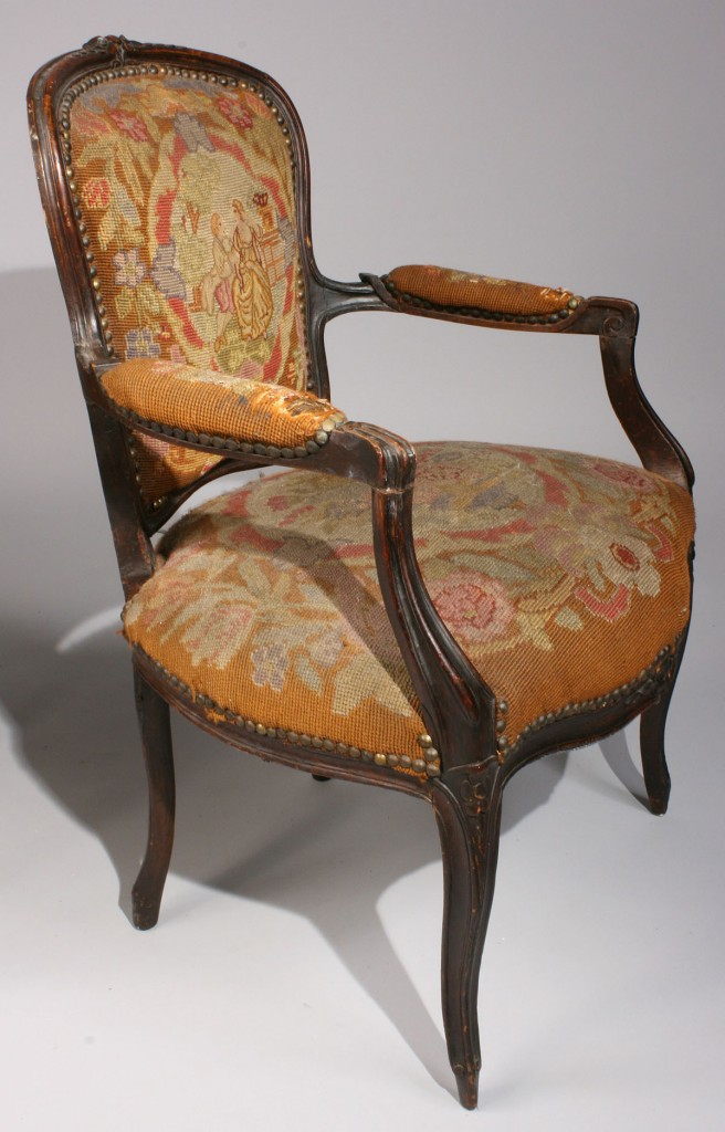 Lot 336: French End Table & Fauteuil