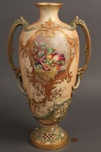 Lot 343: Royal Worcester Vase, signed William Hawkins