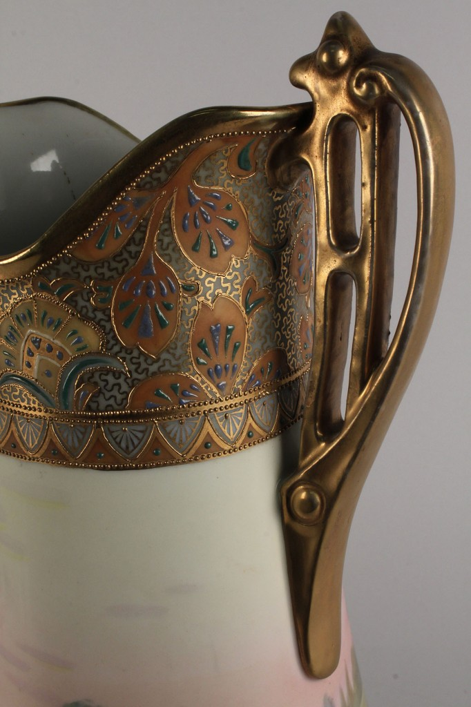 Lot 345: Nippon double-handled vase, hand-painted landscape, signed