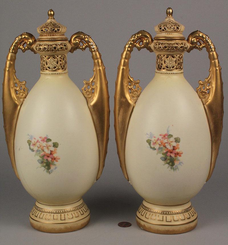 Lot 346: Pair of Austrian  Amphora Jars w/ Lids