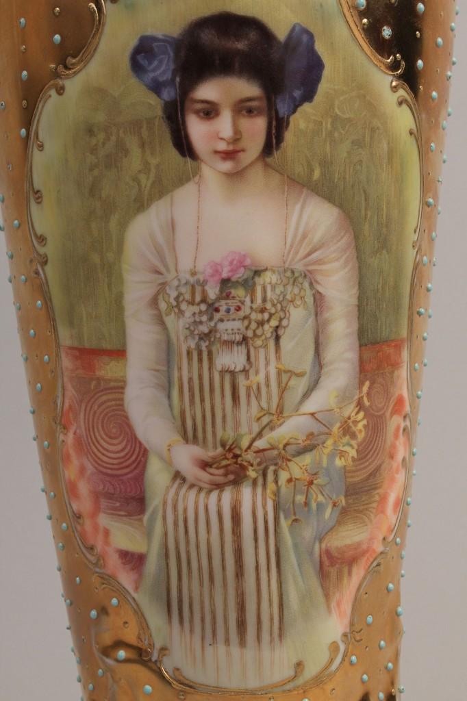 Lot 349: Art Nouveau German Porcelain Portrait Vase
