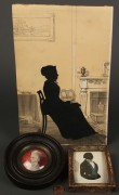 Lot 34: Lot of 2 Silhouettes, incl. Edouart & 1 Miniature