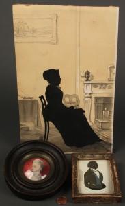 Lot 34: Lot of 2 Silhouettes, incl. Edouart & 1 Miniature