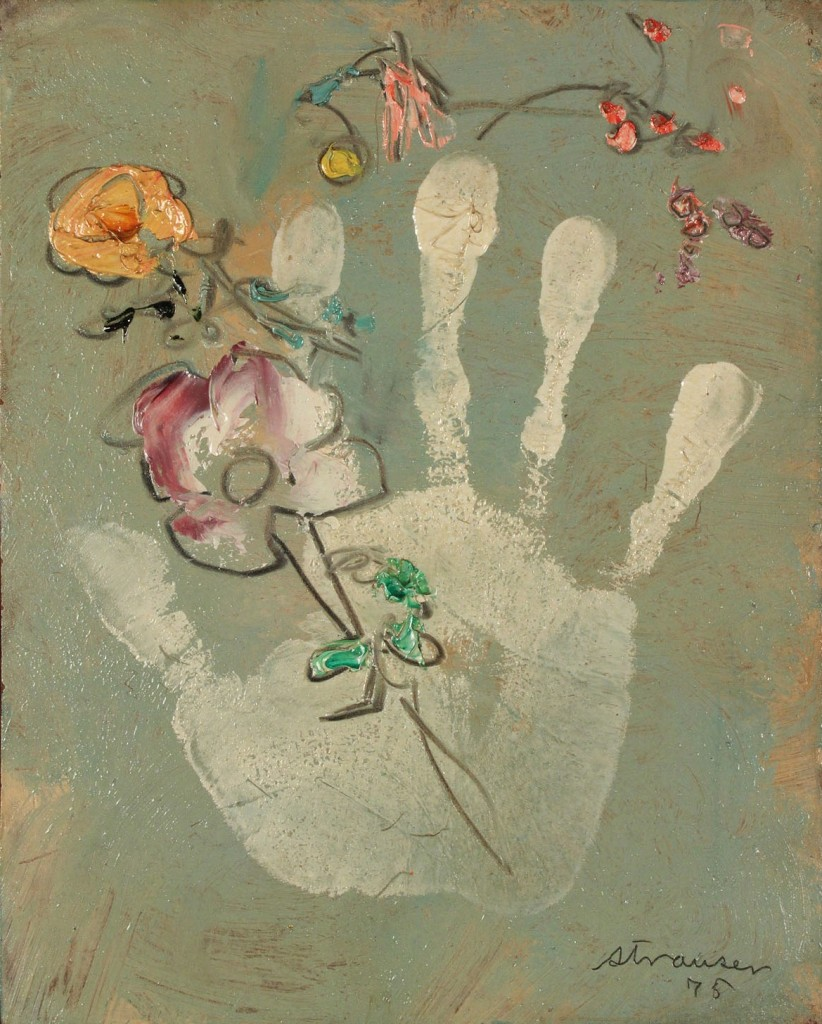 Lot 357: Sterling Boyd Strauser oil on board, Flower with Hand