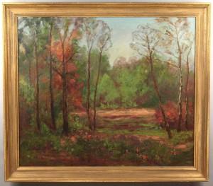 Lot 359: Olive Beem, oil on canvas landscape, Brown Co., IN