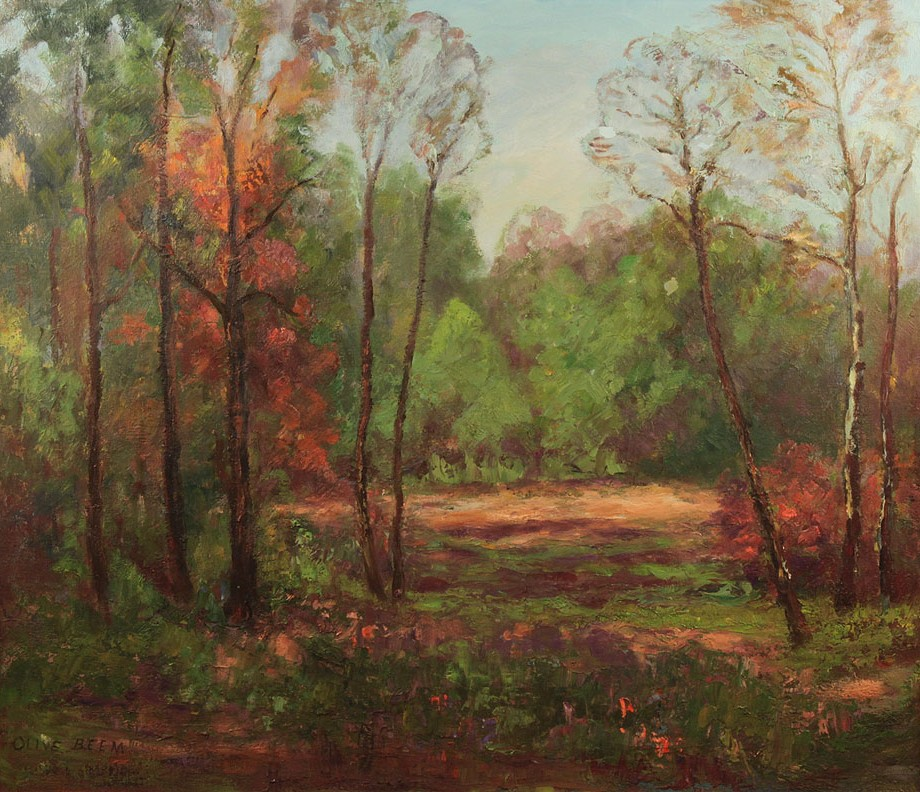 Lot 359: Olive Beem, oil on canvas landscape, Brown Co., IN