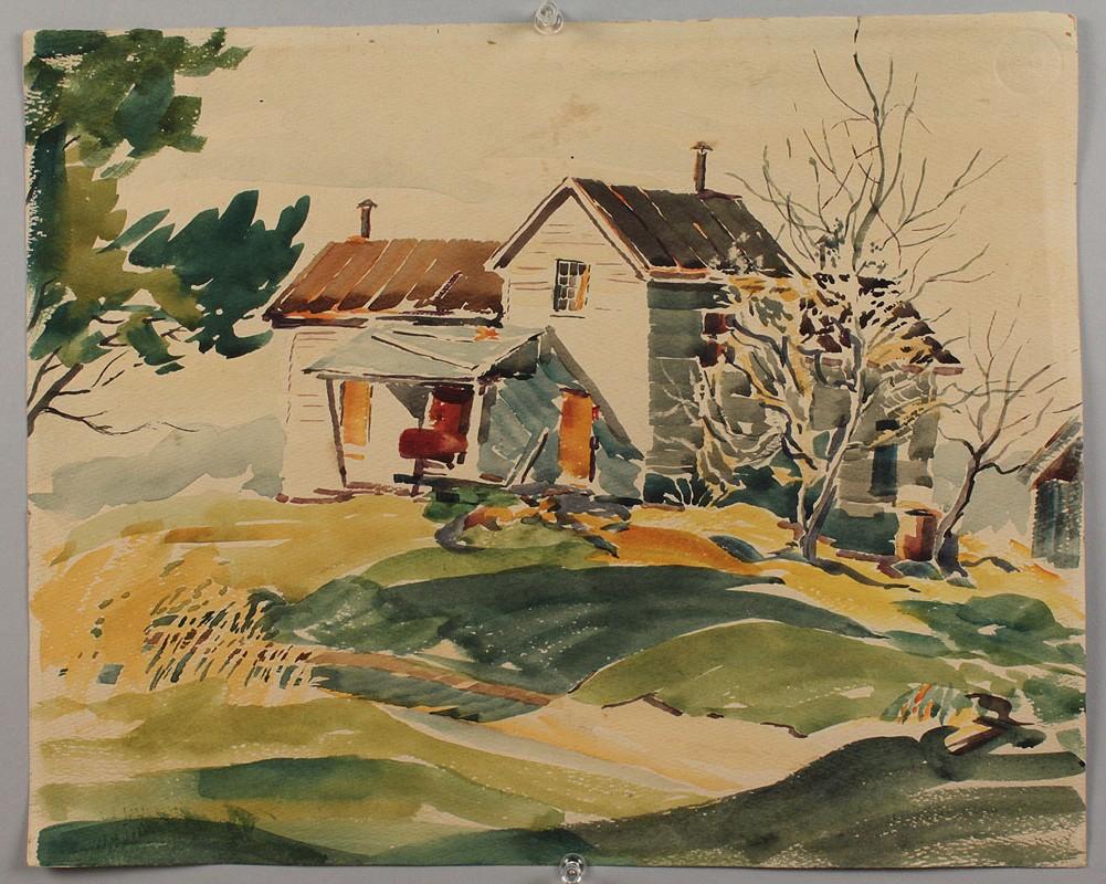 Lot 360: Attr. Paul Randall, WC, Brown Co., IN farmhouse