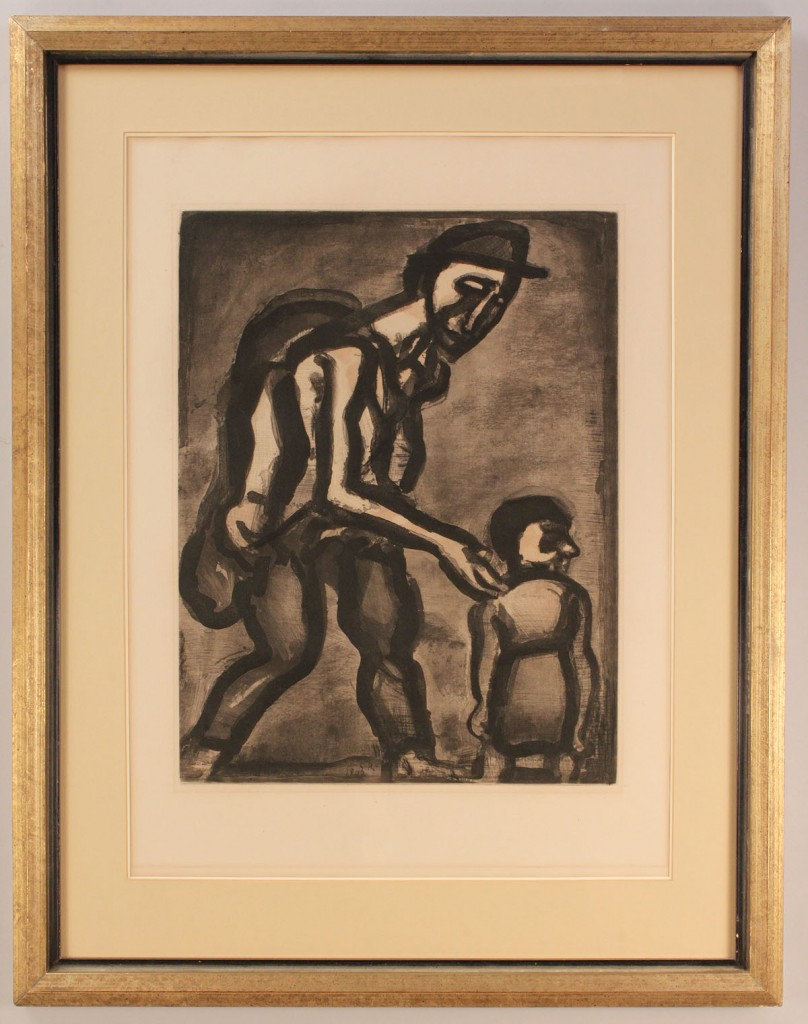 Lot 367: Georges Rouault aquatint, Plate 4 Miserere