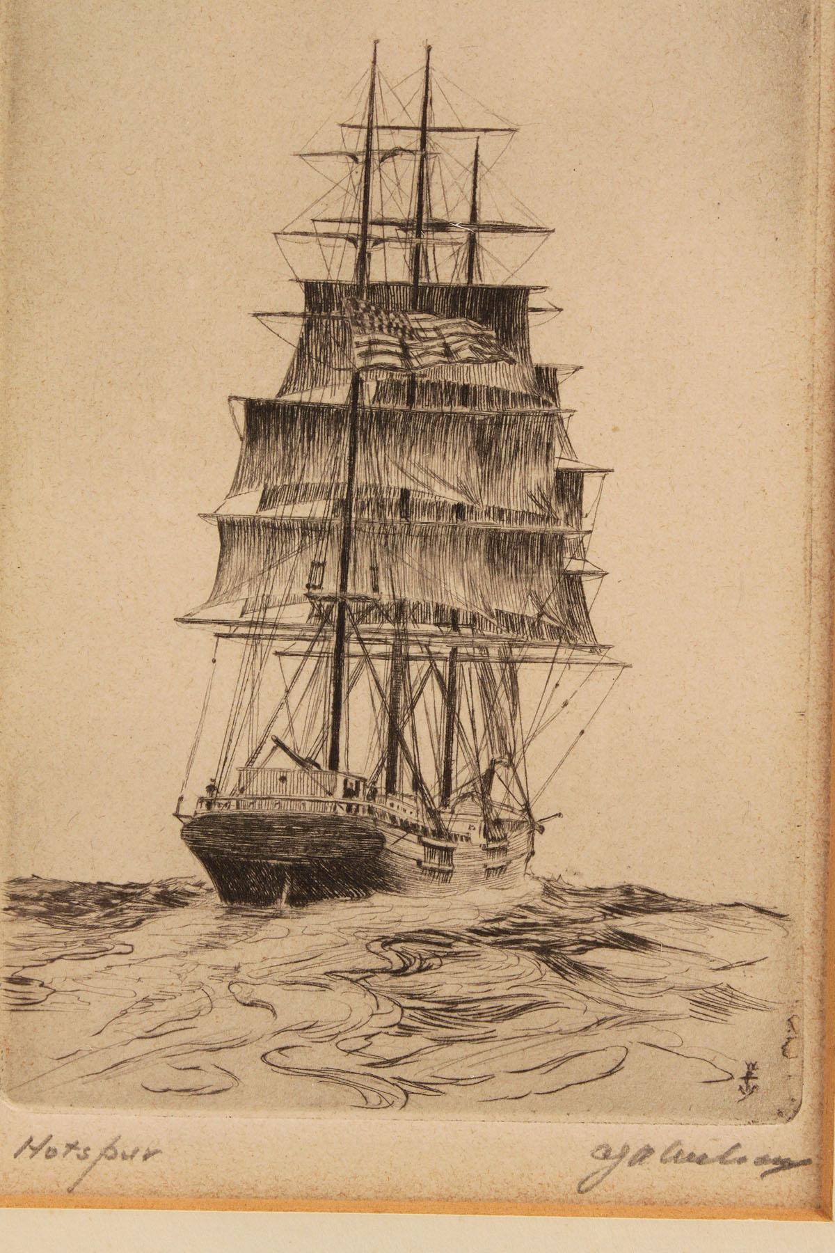 Lot 368a 4 Ship Etchings 2 Wilson 1 Mcgrath 1 Owen