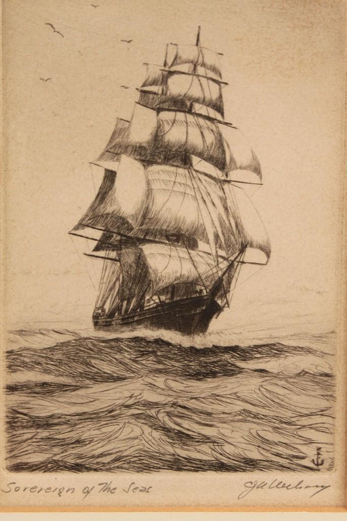 Lot 368A: 4 ship etchings: 2 Wilson, 1 McGrath, 1 Owen