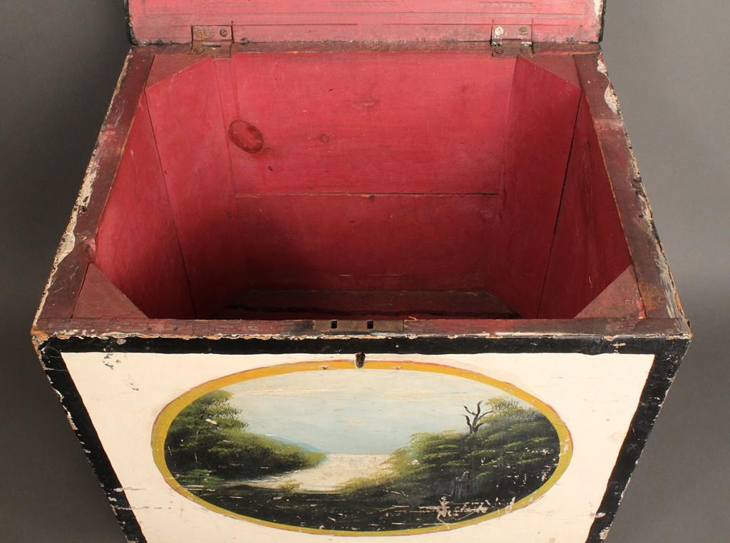 Lot 36: Folk Art Footstool w/ Painted Vignette Scenes