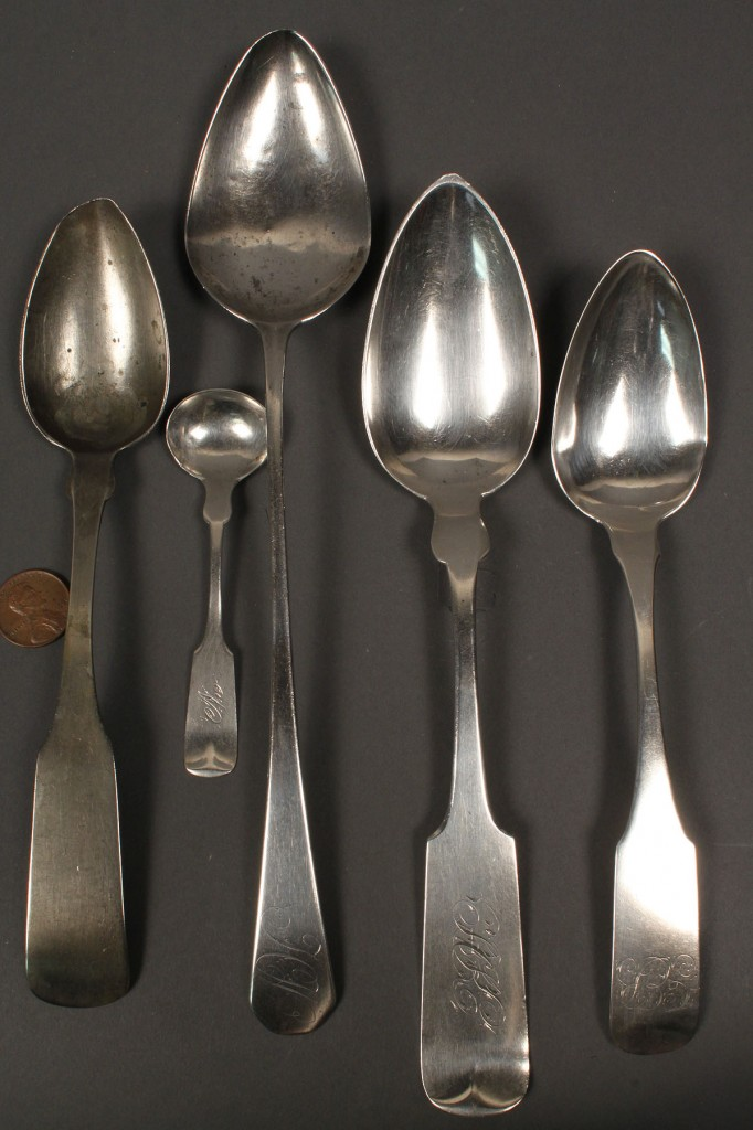 Lot 376: Lot of 5 coin silver spoons