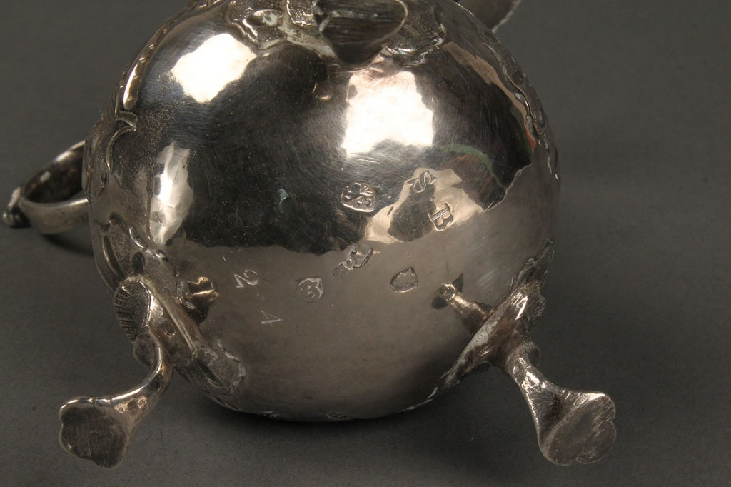 Lot 377: English Repousse Sterling Footed Creamer