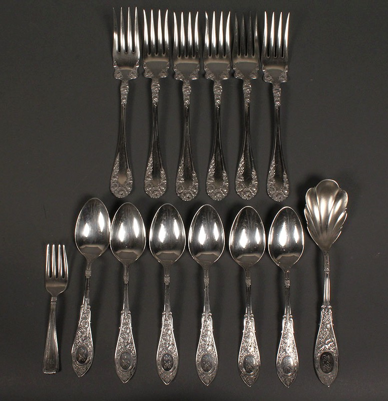 Lot 381: Assorted 19th c. sterling flatware, 14 pcs.