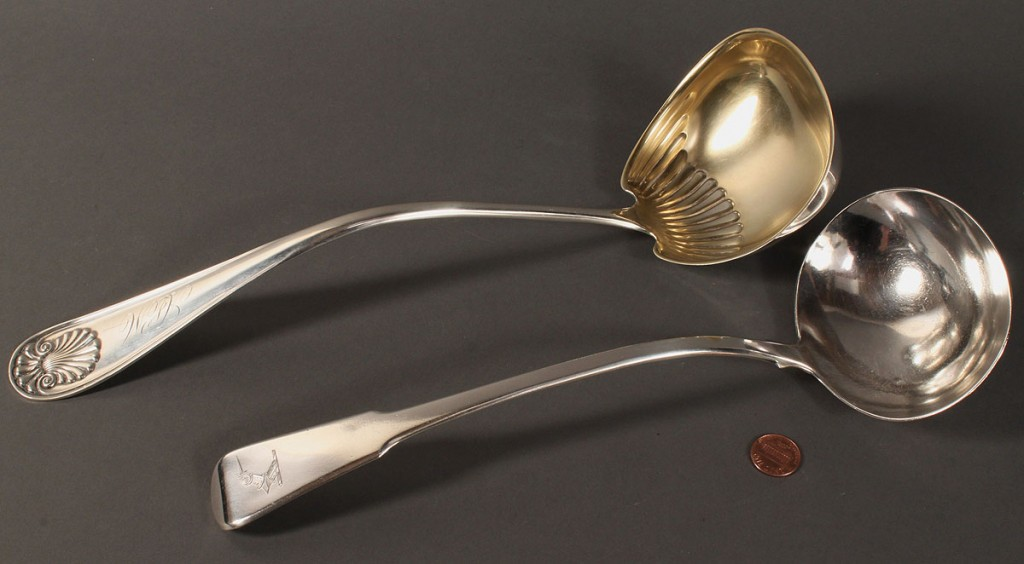 Lot 384: 2 sterling punch ladles