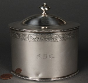 Lot 385: Neoclassical style Sterling Tea Caddy