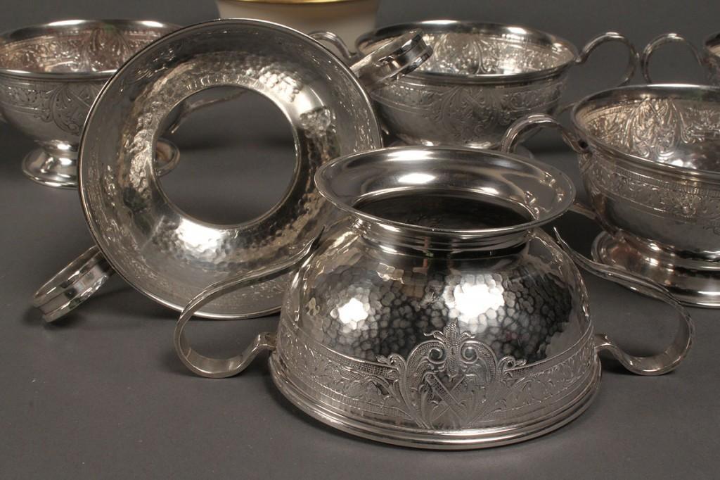 Lot 388: Set of 6 Sterling Bouillon Holders