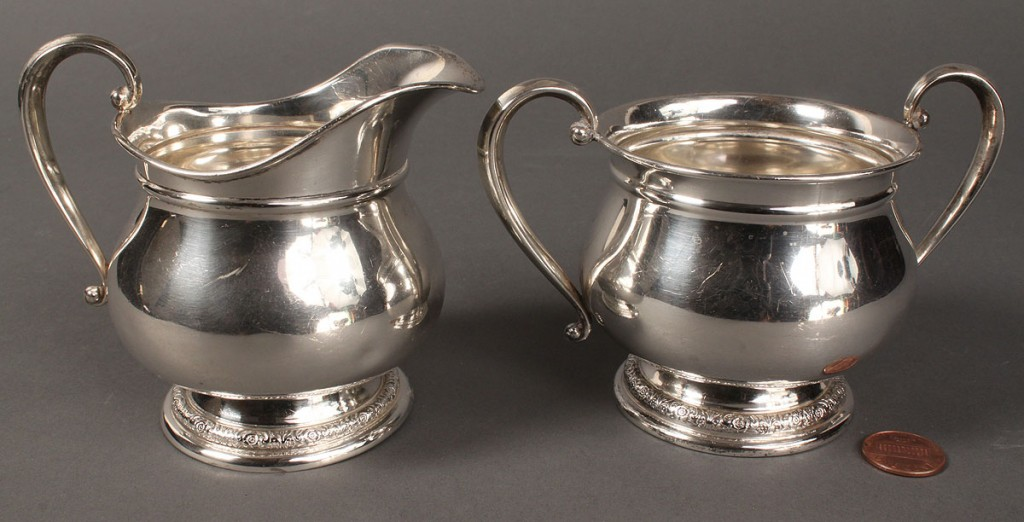 "Lot 392: International ""Prelude"" creamer & sugar & misc. serving pieces"