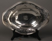 Lot 396:  Sterling Oval Pierced Serving Tray
