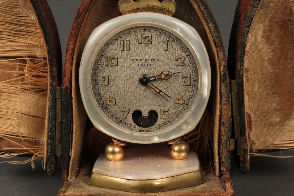 Lot 397: Miniature Swiss travel clock c.1900