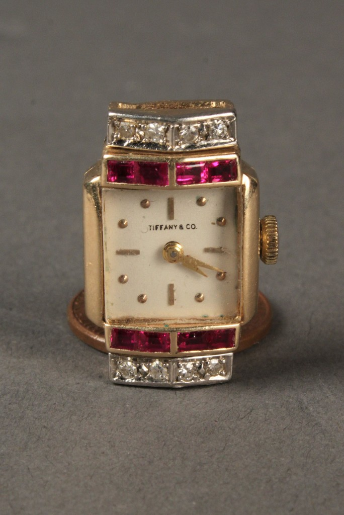 Lot 398: 14k Diamond and Ruby Tiffany Watch Face