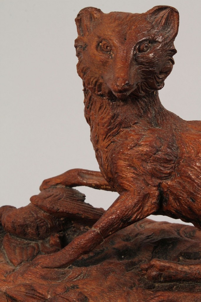 Lot 39: Figural Carved Black Forest Carved box with fox lid