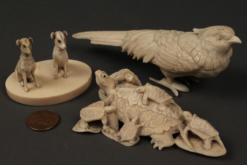 Lot 3: Three carved ivory animal okimono figures