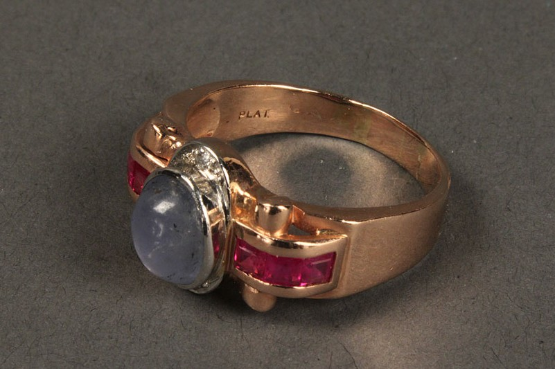 Lot 400: 14K star sapphire, ruby & dia ring