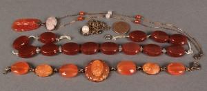 Lot 402: Lot of 3 Carnelian Jewelry Items & 1