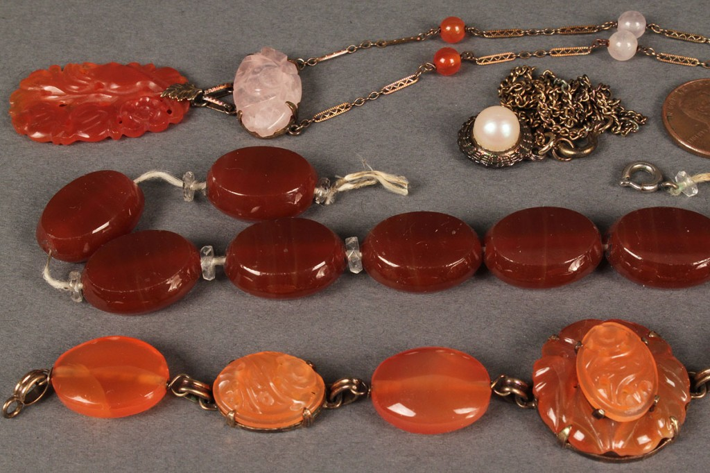 Lot 402: Lot of 3 Carnelian Jewelry Items & 1