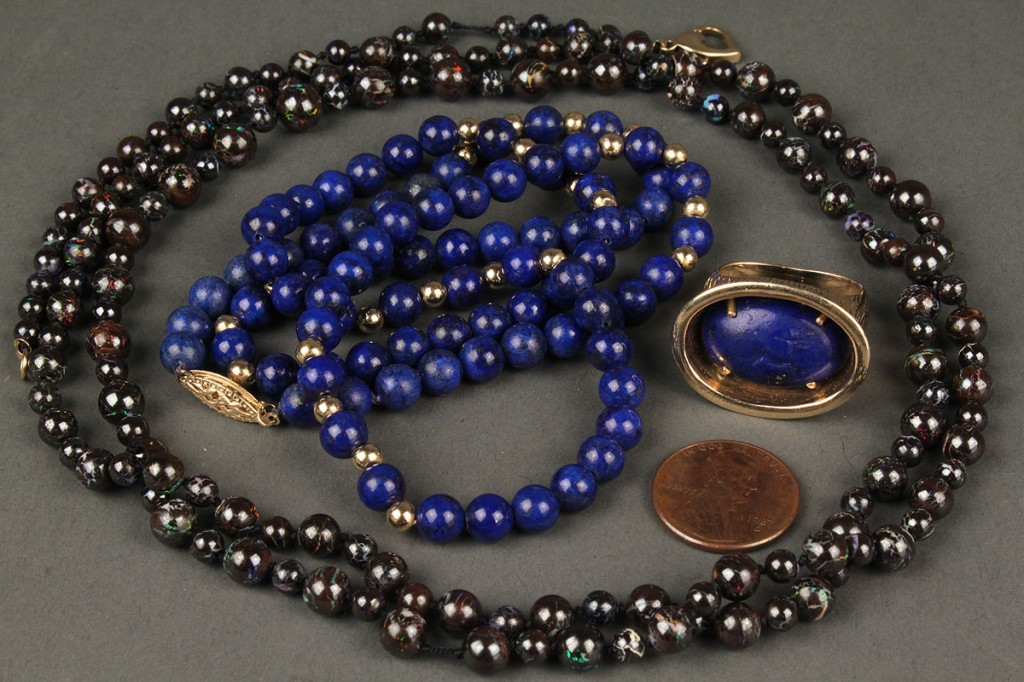 Lot 403:  14K Lapis ring, necklace & boulder opal beads
